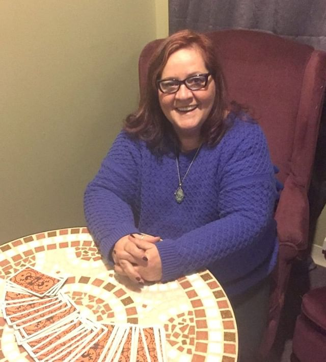 "Deb Hinty Tarot Readings  Fun fact: Deb has been reading tarot since she was 8 years old.  Deb owns a strawberry quartz crystal ball. She uses her Halloween deck to help guide others! Halloween is her favorite holiday. She has been published in ""The Columbus Haunts 2."" https://www.mysticsistersstore.com/about-us  #mysticsisterstore"