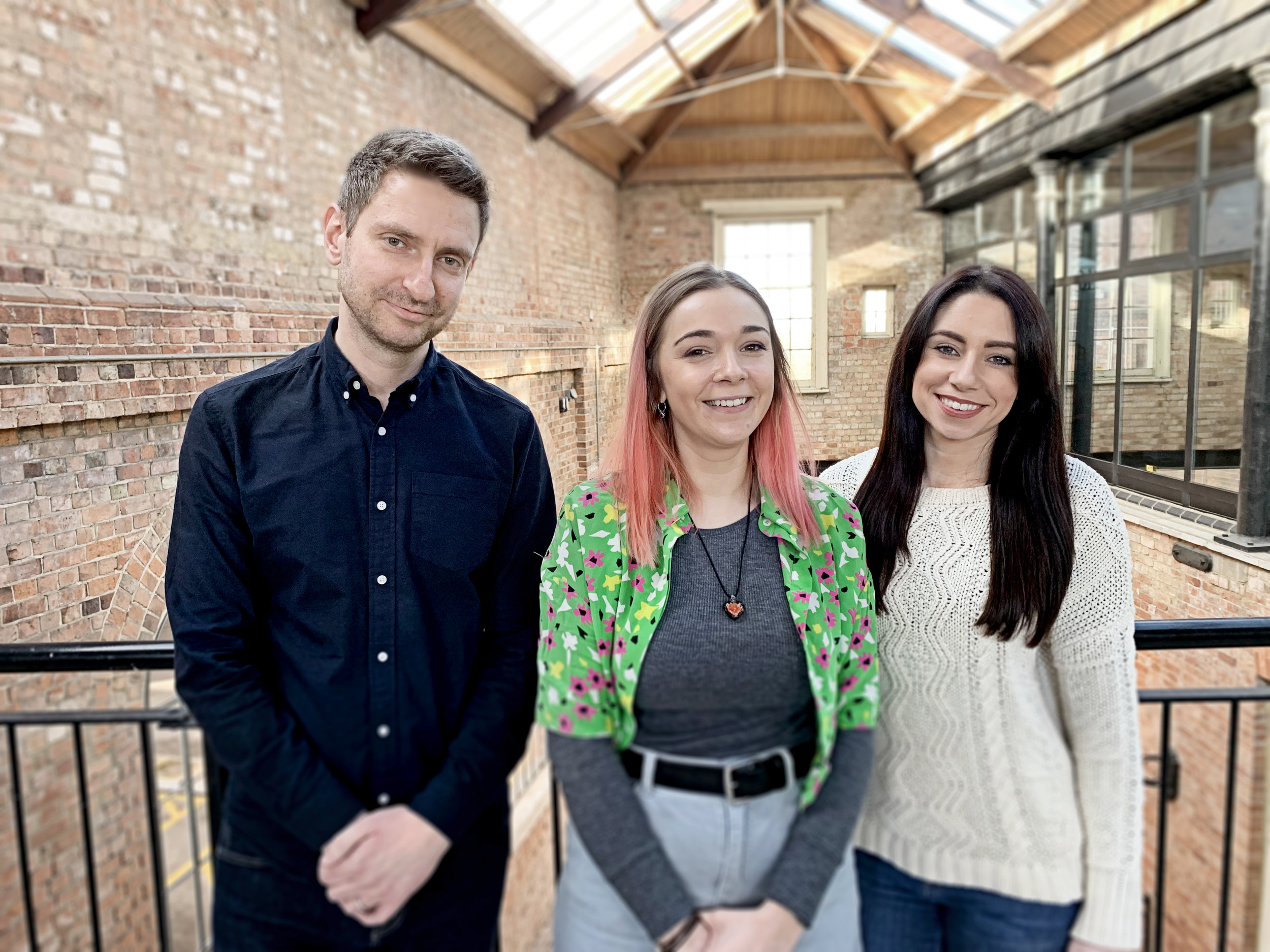 L-R: Peter Handford (MD of Headlines), Georgie Turner-Noble (The Big Blue Blueprint) and Bethany Waters (Graphic Designer at Headlines).