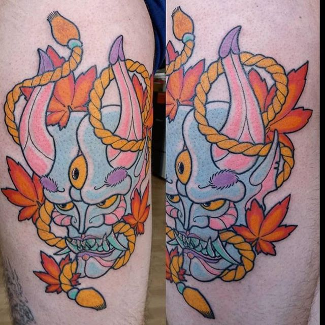 Demon on thigh #tattoo #apprentice #demon #colour #hypetattoo