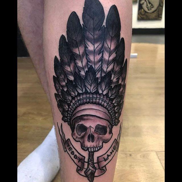 Skull on shin #tattoo #apprentice #black and grey #skull #headdress #hypetattoo