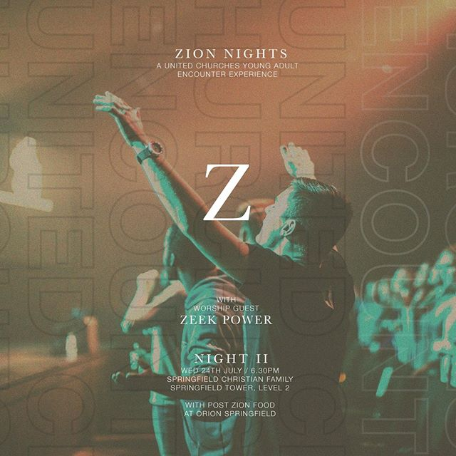 For all our Young Adults tonight is for you! We have our Zion Young Adults - Night 2 with Zeek Power worship leading starting at 6.30pm at Springfield Christian Family.  Come expectant and ready for a great night together!  #cityhope #zionya 