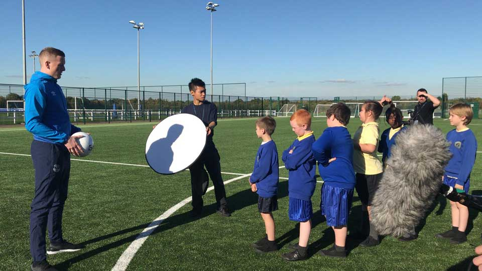 On location at Finch Farm with Jordan and the local school children.