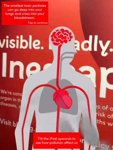A human body demonstrates the affect that air pollution can have on the heart and circulation.