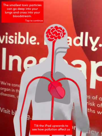 The human body animation demonstrates what affect that pollution can have on the heart and circulation.