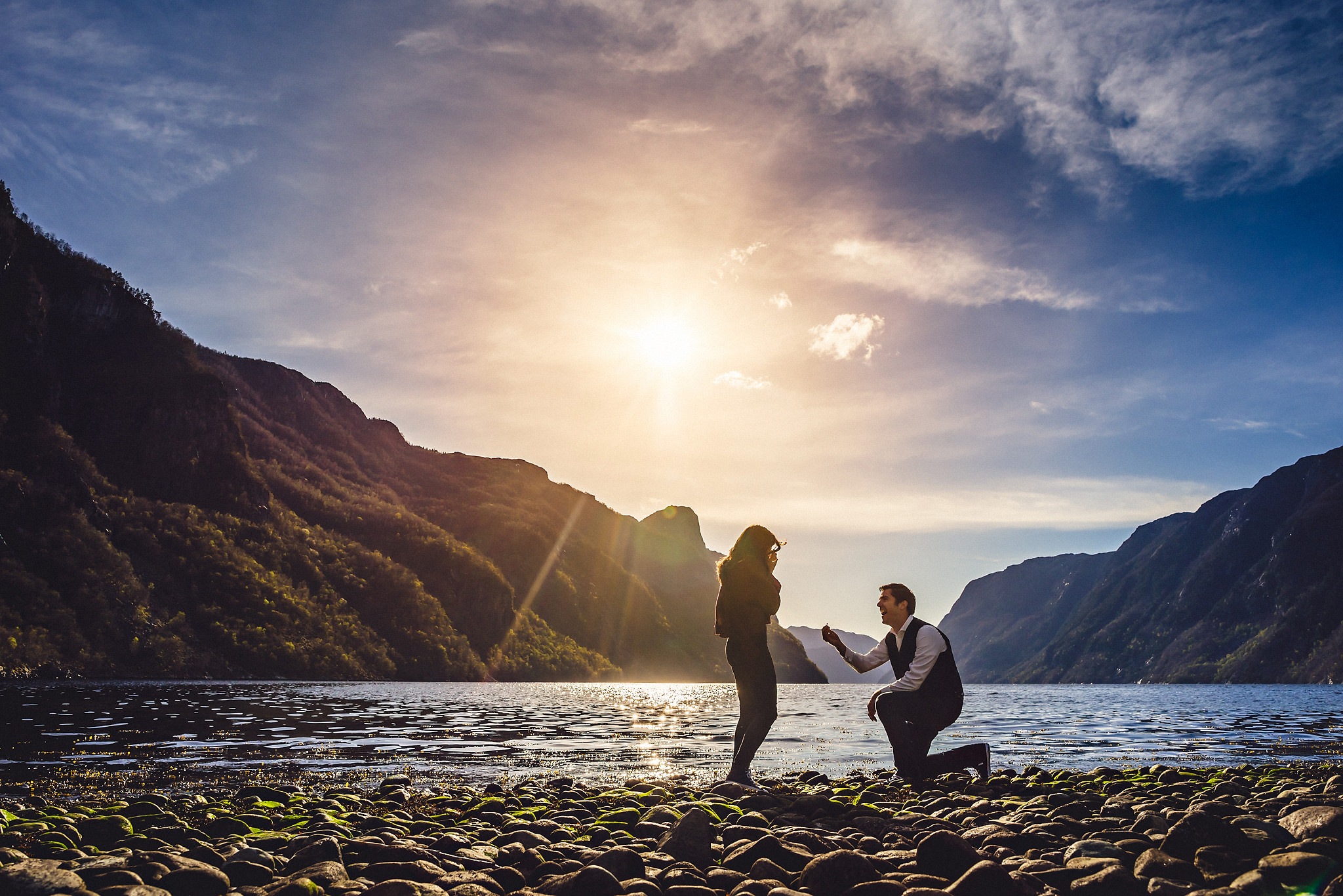Norway wedding photographer proposal by the fjord