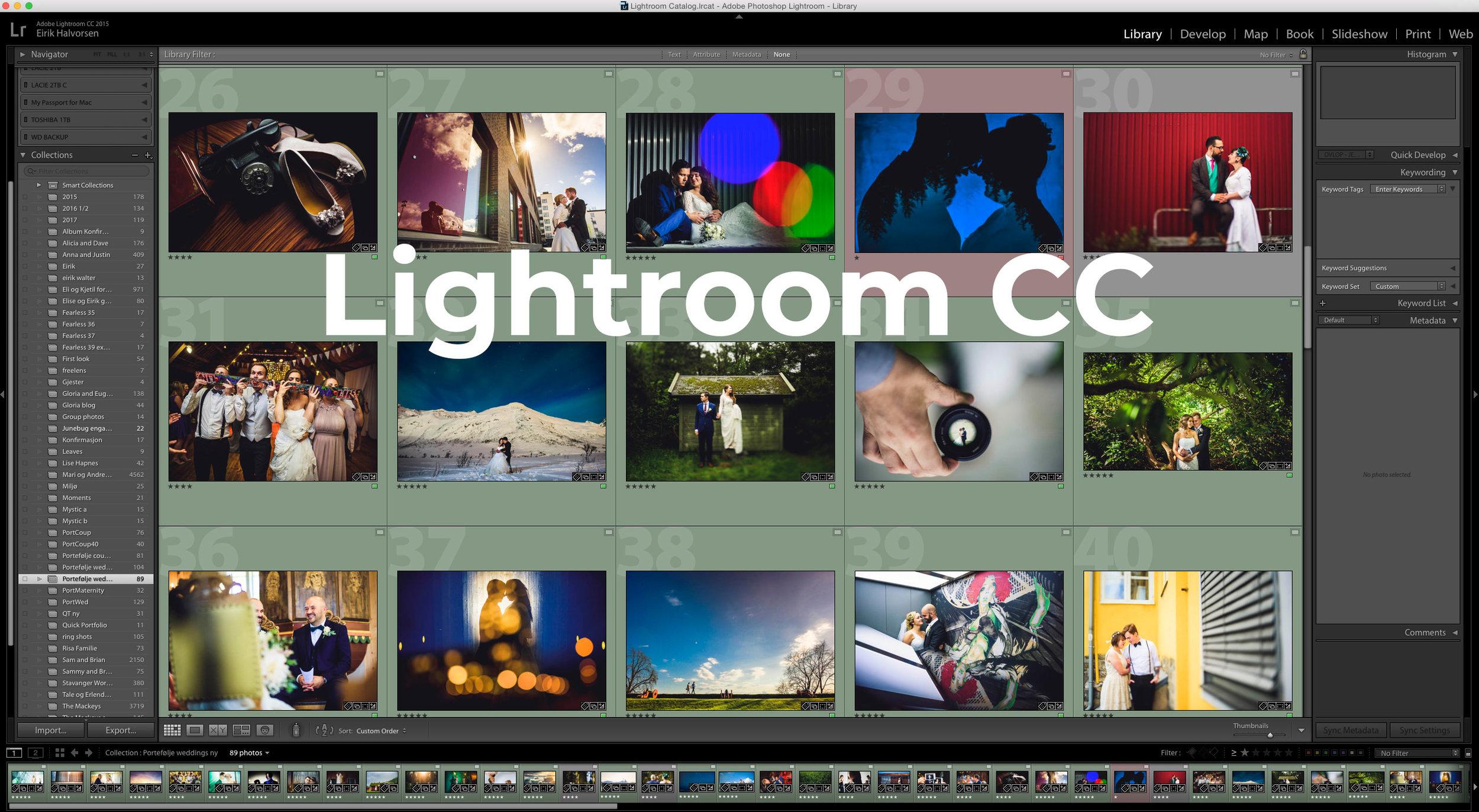 Lightroom workflow - Alt jeg gjør handler om å effektivisere arbeidsflyten og frigjøre tid. Jeg fotograferer i gjennomsnitt 4-5000 bilder i hvert bryllup så her kommer effektive snarveier til nytte.Import, utvelgelse, redigering, eksport - jeg lærer deg min workflow i LR for ultimat hastighet.