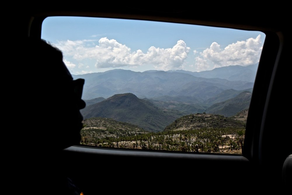 Driving through the higher elevation mountains of Oaxaca