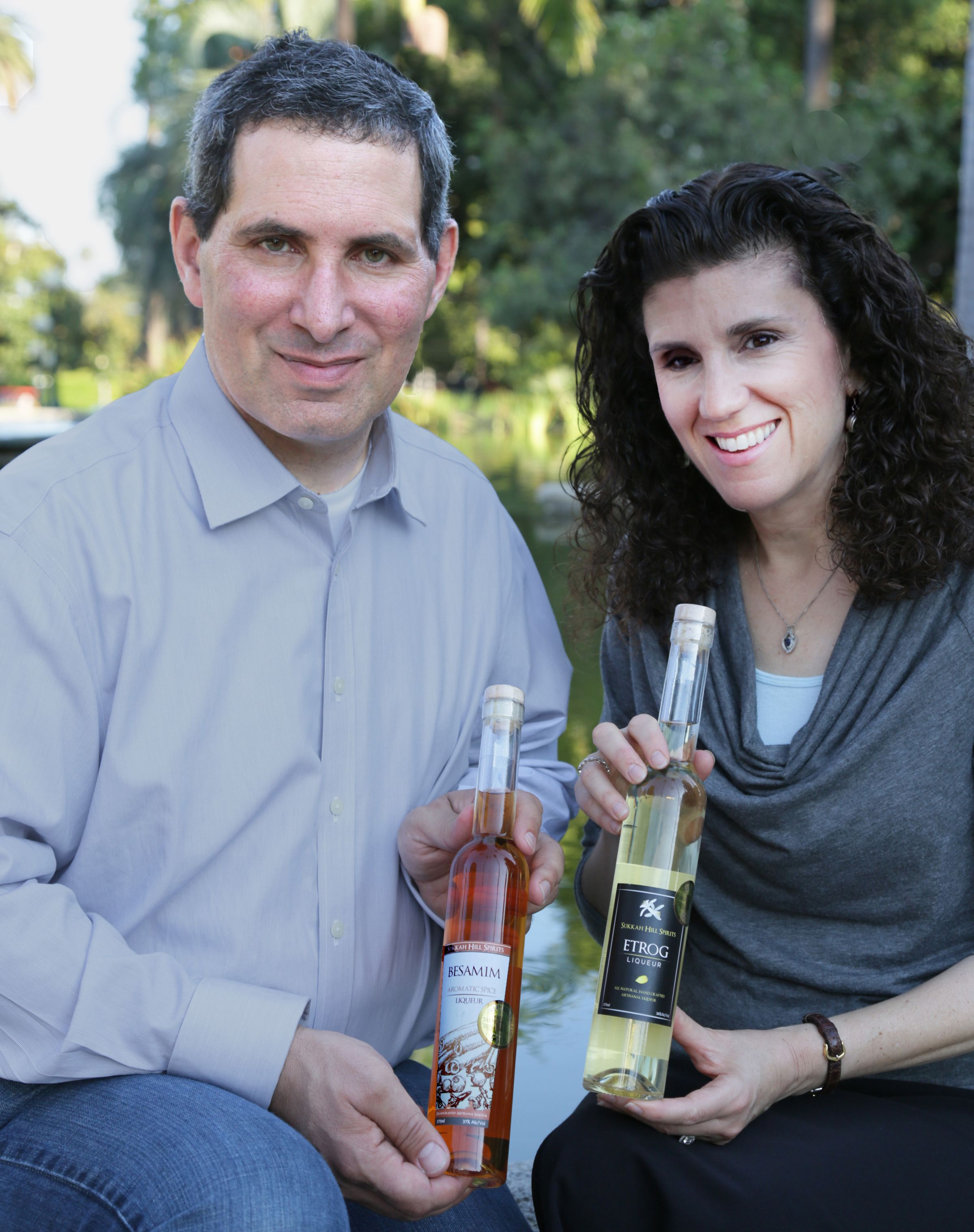 Howard and Marni Witkin with their two kosher liqueurs