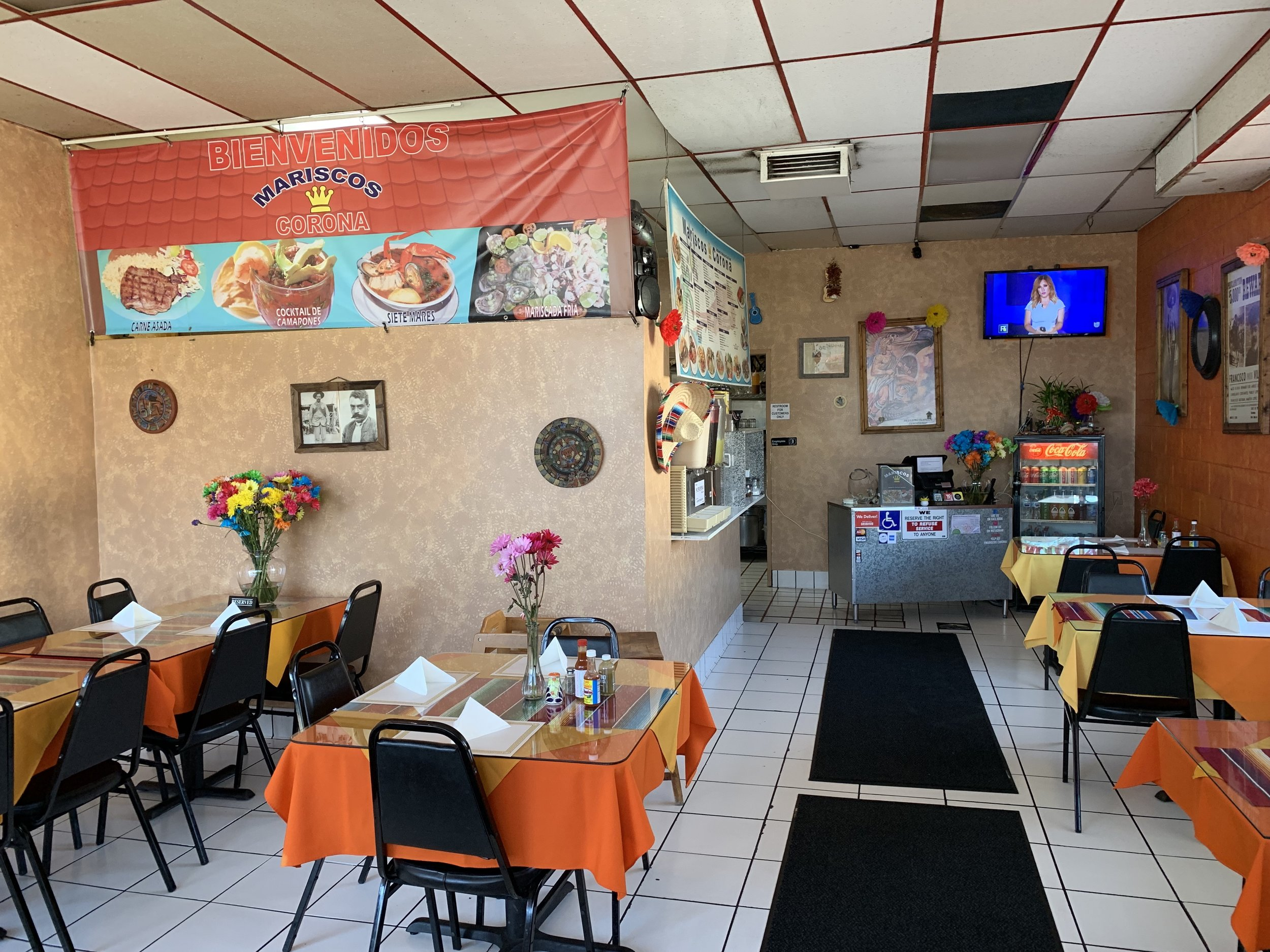 The unassuming interior of Mariscos Corona on Sherman Way in Van Nuys