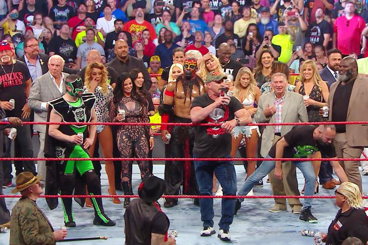 Stone Cold Steve Austin at this past Monday's Raw Reunion