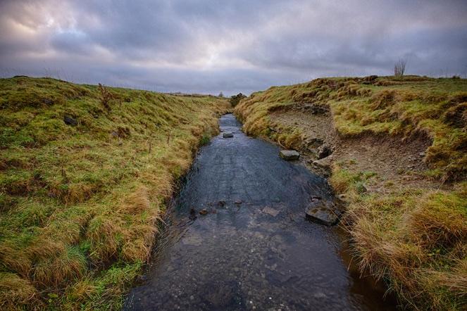 The Wolf Burn stream that runs through Thurso, Scotland