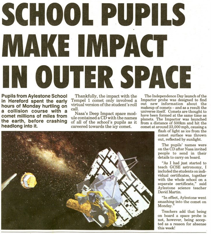 Special times with students...   - The article from the Hereford Times - and we were on local BBC Hereford and Worcester radio as we all crashed into Comet Tempel 1
