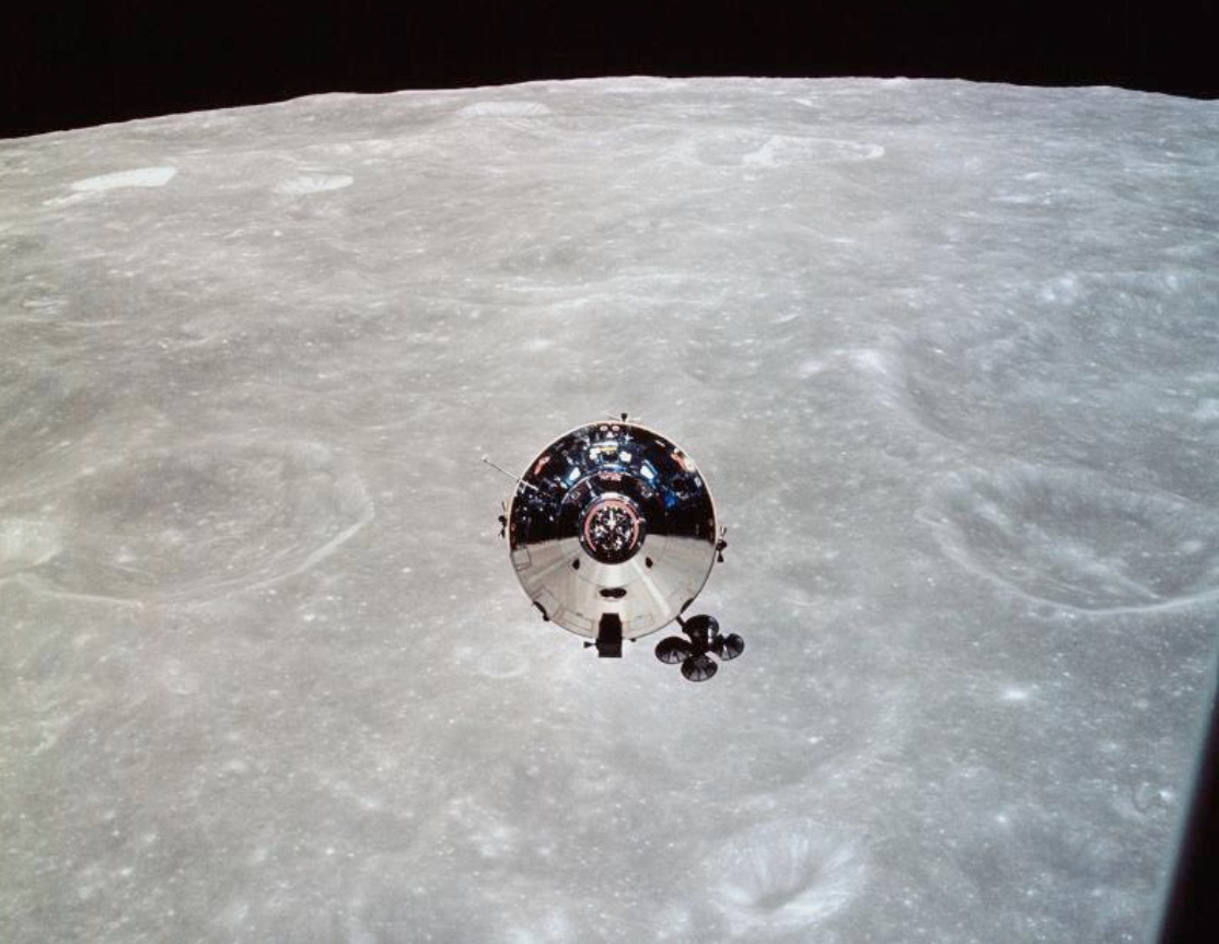 So close to the lunar surface –just 15km away but the Lunar Module 'Snoopy' could not land on the trial run.The picture was taken from the Lunar Module looking towards the Command Service Module -