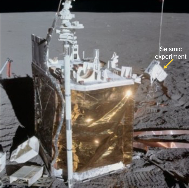 Experiments included the following:-Magnetometer – to measure the magnetic field of the Moon Seismometer – to measure Moon quakes for finding out the internal structure of the Moon Particle detector – for catching solar wind particles - The ALSEP central station for Apollo 14 is shown
