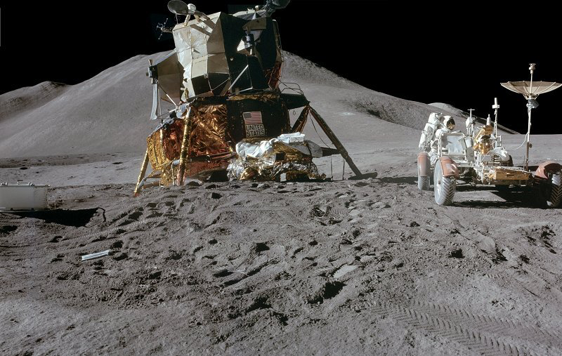 Extra Vehicular Activity aroundthe spectacular Apollo 15 landing site -