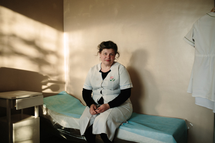Elena, a nurse in Vodanyoe, a small mining town in Donetsk region, October 2014.jpg