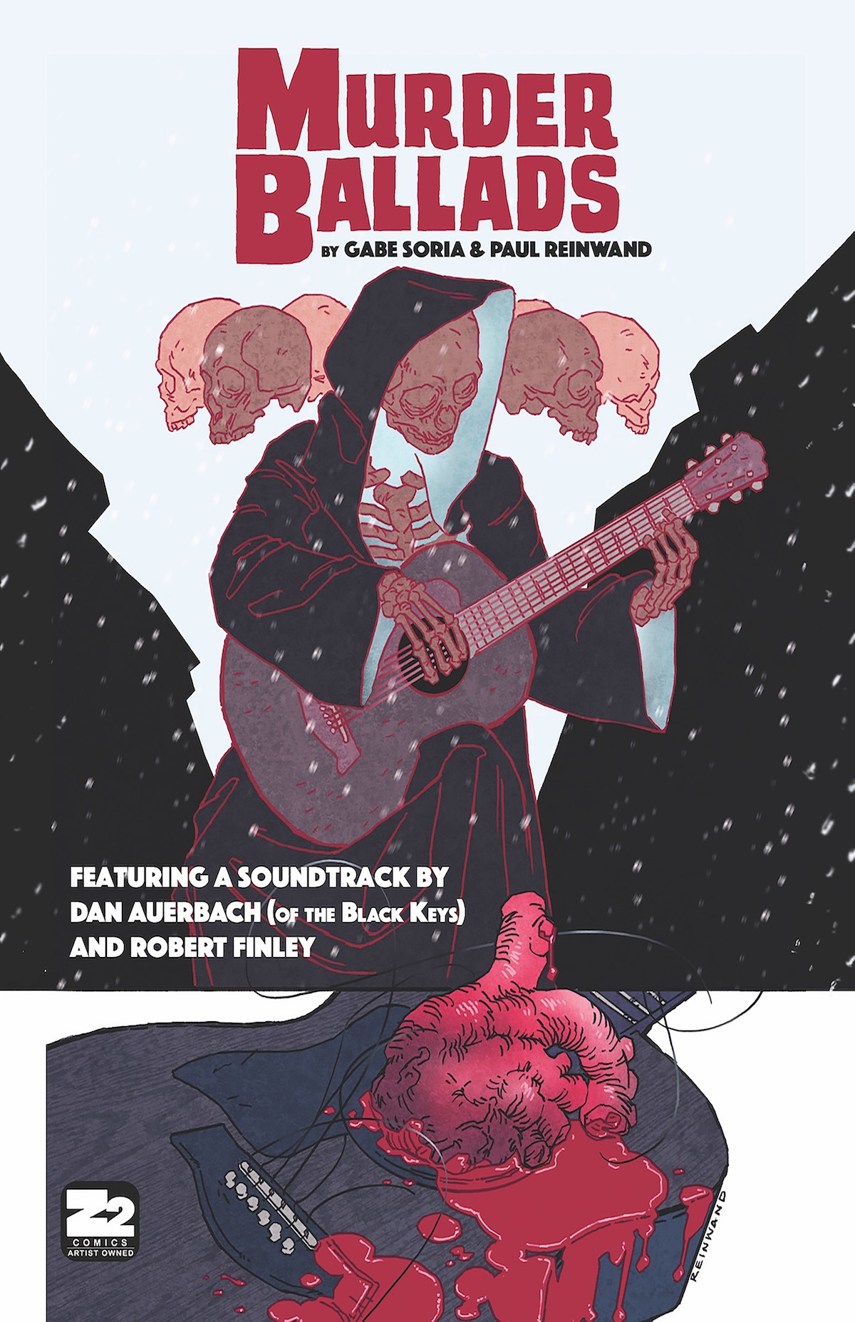 """Murder Ballads: By Gabe Soria, Paul Reinwand, Chris Hunt, Dan Auerbach and Robert Finley   Murder Ballads deftly weaves doom blues into a narrative that is a meditation on music, race, obsession, and how far someone will go to see their vision become real. One of the most critically acclaimed graphic novels of 2016, the book comes with original downloadable music by Dan Auerbach of The Black Keys and Robert Finley.   Limited Deluxe Edition with 10"""" Vinyl available from MONDO here."""
