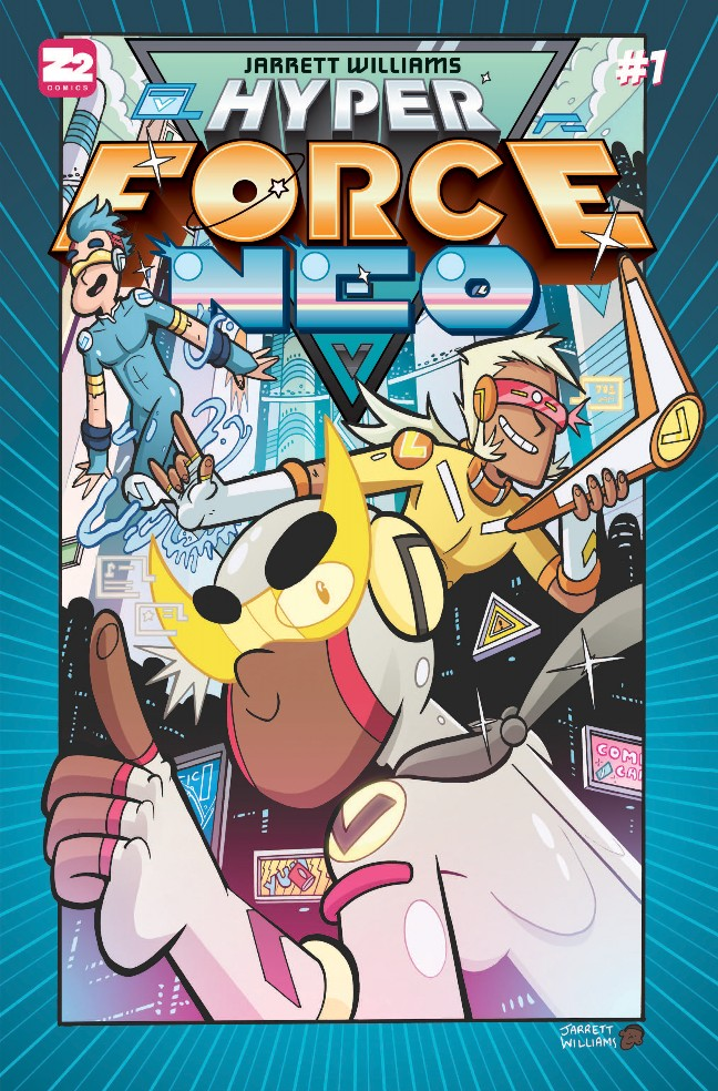 HYPER FORCE NEO by Jarrett Williams   It's the year 21XX and Dean Masters is off to his first day of 9th grade. But unbeknownst to him, Dean will become the leader of Hyper Force Neo, a super-secret group of techie-teens who pilot massive Neo Mechs to defend the planet! From Super Pro K.O. creator Jarrett Williams.   A candy floss romp with giant robots, monsters and worst of all: high school.