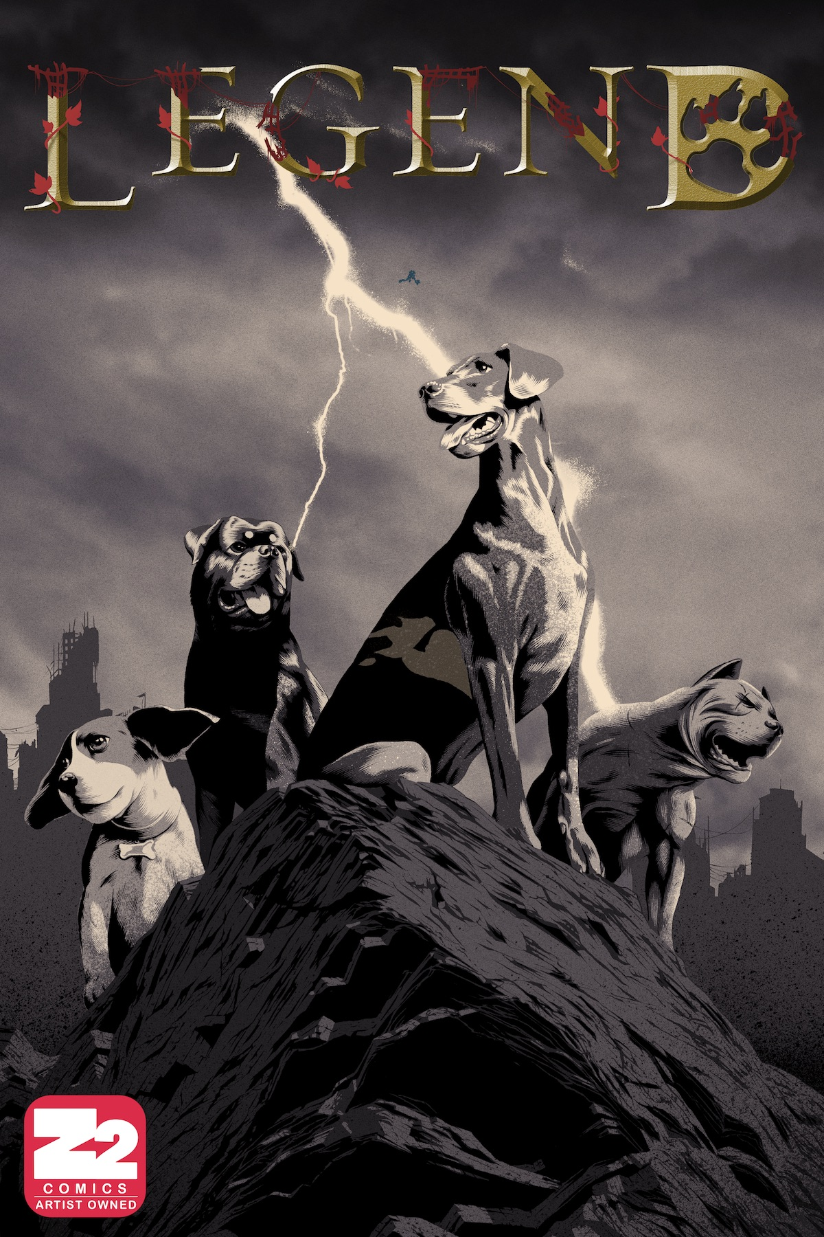 LEGEND by Samuel Sattin and Chris Koehler   What if a biological terror agent wiped out most of humanity, and our domesticated animals were left in charge? How would our dogs and cats set about ruling and rebuilding the world? Ransom, the leader of the Dog Tribe, has been murdered by a creature known as the Endark. An English Pointer named Legend reluctantly rises to lead in his place, vowing to kill the monster once and for all. From acclaimed novelist Samuel Sattin and award-winning illustrator Chris Koehler comes Legend, where cat technology rules, dogs partner with hawks, and humans may be the most beastly creatures of all.