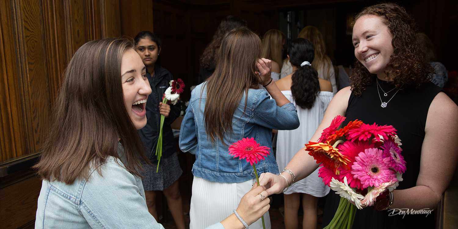 Image of students greeted with a daisy when they entered the chapel.