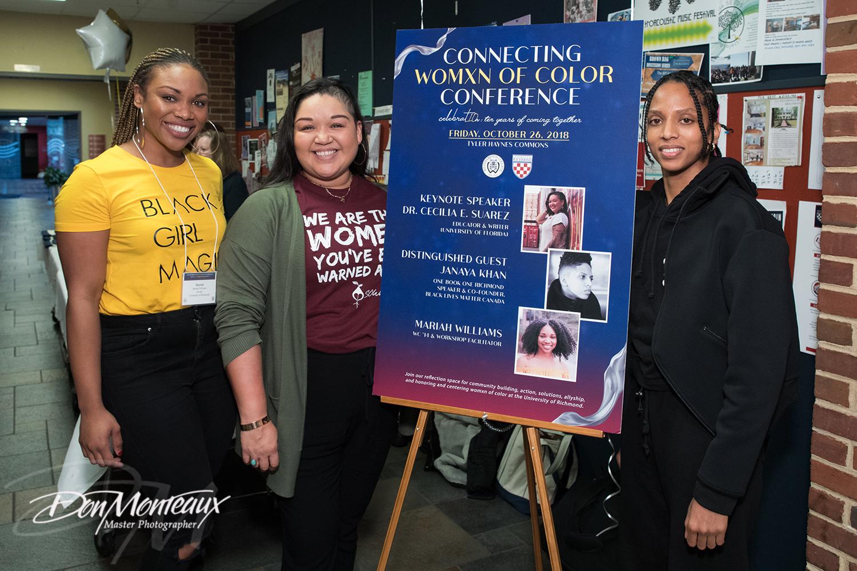 Photograph of speakers Dr. Cecilia E. Suarez, Janaya Khan, and Mariah Williams.