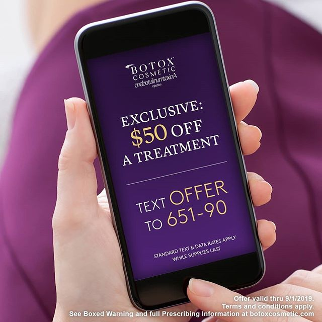 For Boxed Warning and Medication Guide, see @botoxcosmeticpi Text OFFER to 65190 or visit https://btxc.co/50off and get $50 OFF a BOTOX® Cosmetic treatment! Offer valid thru 9/1/2019.  Talk to your doctor about BOTOX® Cosmetic and whether it's right for you. There are risks with this product - the effects of BOTOX® Cosmetic may spread hours to weeks after injection causing serious symptoms. Alert your doctor right away as difficulty swallowing, speaking, breathing, eye problems or muscle weakness can be a sign of a life-threatening condition. Patients with the conditions before injection are at the highest risk. Side effects may include allergic reactions, injection-site pain, fatigue and headache. Allergic reactions can include rash, welts, asthma symptoms, and dizziness. Don't receive BOTOX® Cosmetic if there's a skin infection. Tell your doctor your medical history, muscle or nerve conditions (including ALS/LouGehrig's disease, myasthenia graves, or Lamber-Eaton syndrome), and medications, including botulinum toxins, as these may increase the risk of serious side effects. BOTOX® Cosmetic is a prescription medicine that is injected into muscles and used to temporarily improve the look of moderate to severe forehead lines, crow's feet, and frown lines between the eyebrows in adults.