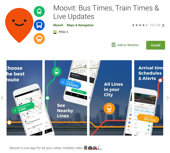 "Figure 1 - Application ""Moovit"" as advertised in the Google Play Store. Source: Google Play Store. Date: 2019-04-11."