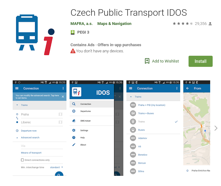 "Figure 1 - Application ""Czech Public Transport IDOS"" in the Google Play store. Source: Google Play Store, Date: 2019-06-06"