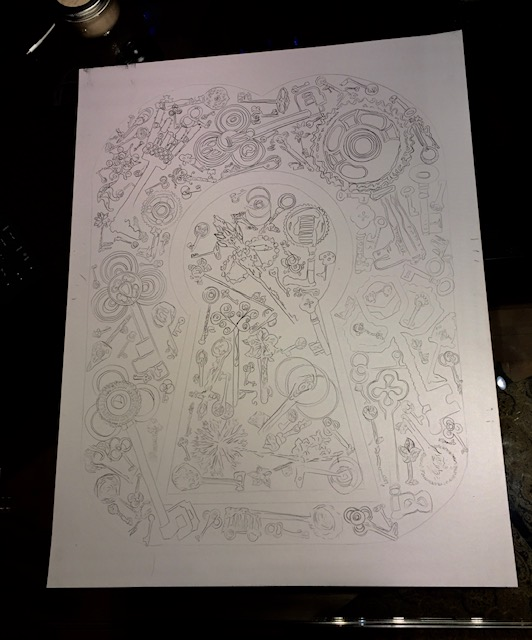 The poster prior to adding the ink.