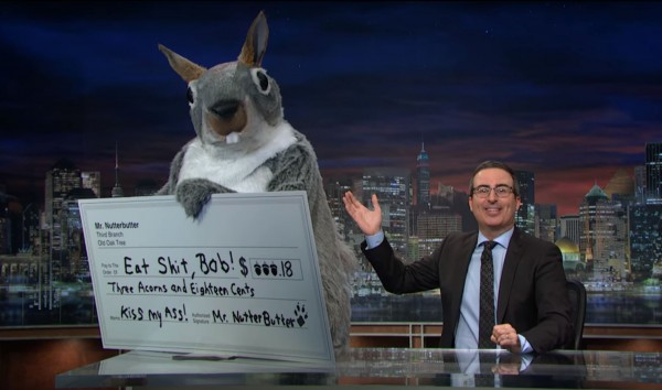 John Oliver & Mr. Nutterbutter exercising their 1st Amendment rights