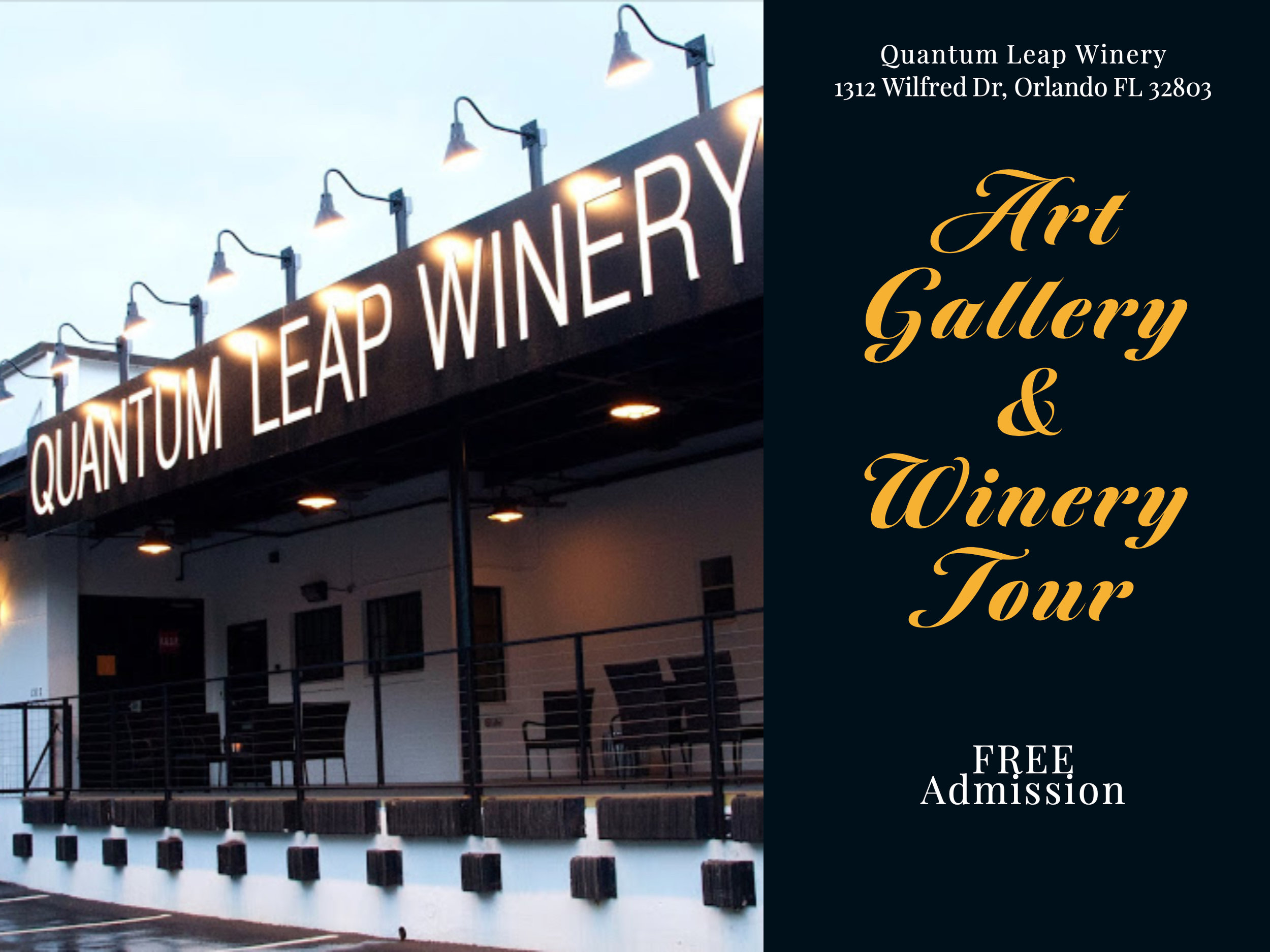 """""""Picturesque"""" - Quantum Leap Winery - 1312 Wilfred Drive Orlando, FL 32803Join us for a curator lead tour of this landscape art exhibition at the Quantum Leap Winery. This free tour includes a complimentary glass of bubbly. Learn about the winery and how the wine is produced as you also learn about the art on display.Please RSVP for this event as spaces are limited!All Artwork is for Sale."""
