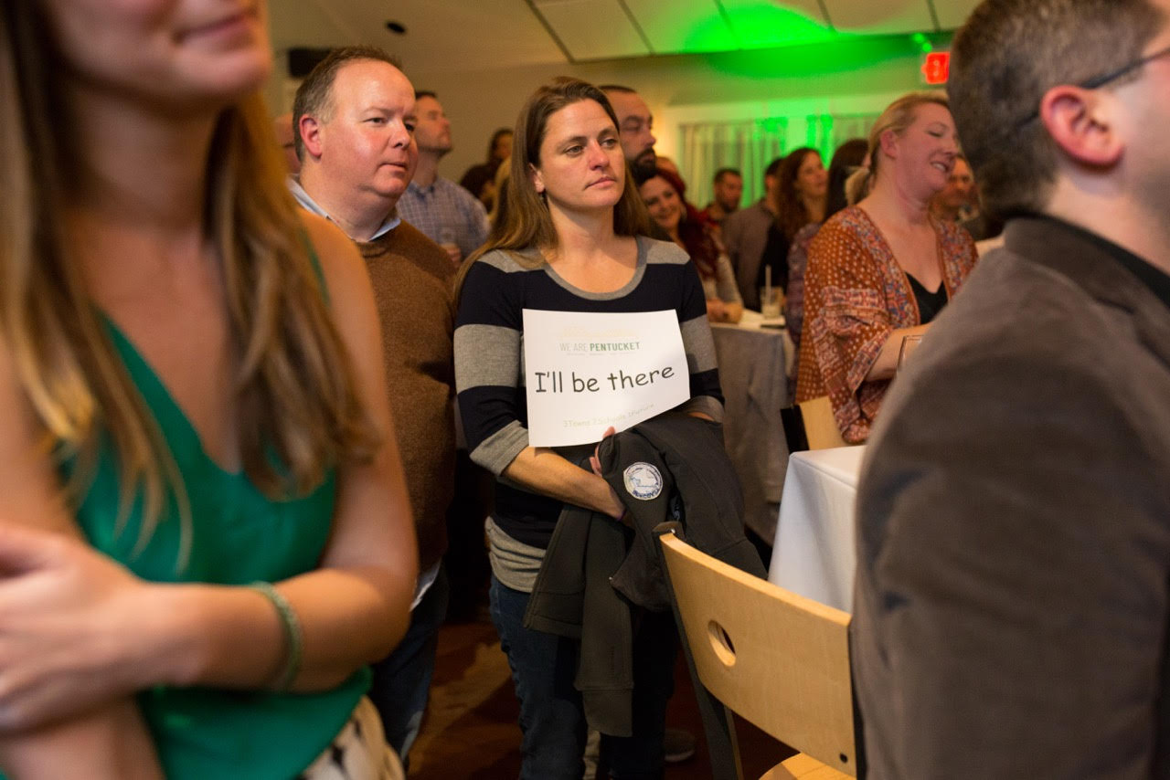 We Are Pentucket supporters from all three community packed Michael's Harborside to capacity and pledged to vote 'YES' to approve funding for a new school building. PHOTO BY REBEKAH DOUGHTY
