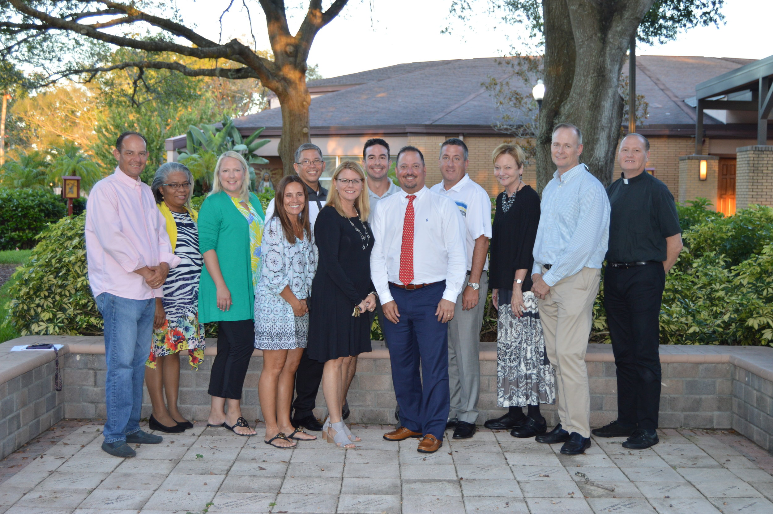 2018-2019 SJVS Board members: Jose Guzman, Joan Lyn, Brigetta Cremata, Shannon Lambert, Vernon Lee, Beth Labreche, Carlos Gregory, Ricardo Villamil, Mike Kennedy, Cathy Marshall, John Gallagher, Fr. Tom Walden (Not pictured: Nancy Barbosa, Maytel Sorondo Bonham, Amando Crematta, Dr. Michael DiMauro and Katie Winemiller.)