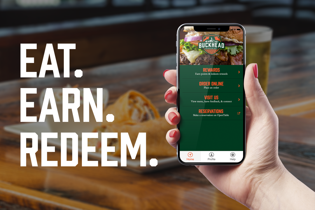 TEST 123 - Collect 1 point per $1 spent on food & non-alcoholic beverages when you page using the Buckhead Rewards mobile app and redeem points for free food and rewards!