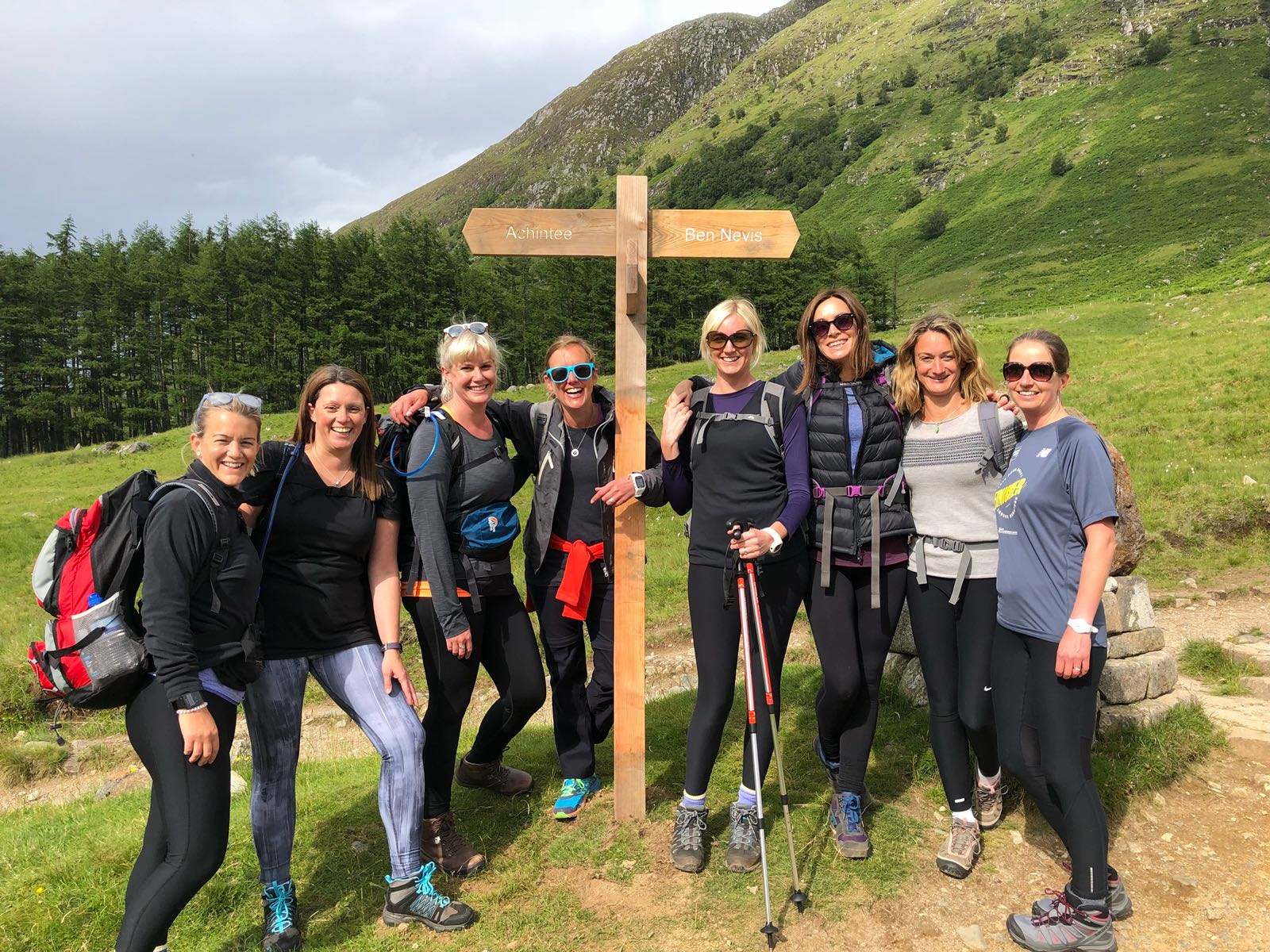 Group of women who completed the Three Peaks and used Shower in a Can. Pictured at the bottom of Ben Nevis. Shower in a Can works as a travel wash and waterless shower too.