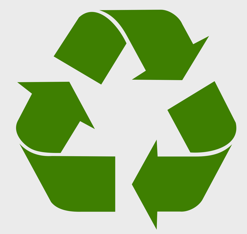 Green recycling symbol - supporting Shower in a Can's green credentials. The can is aluminium which can be recycled or upcycled.