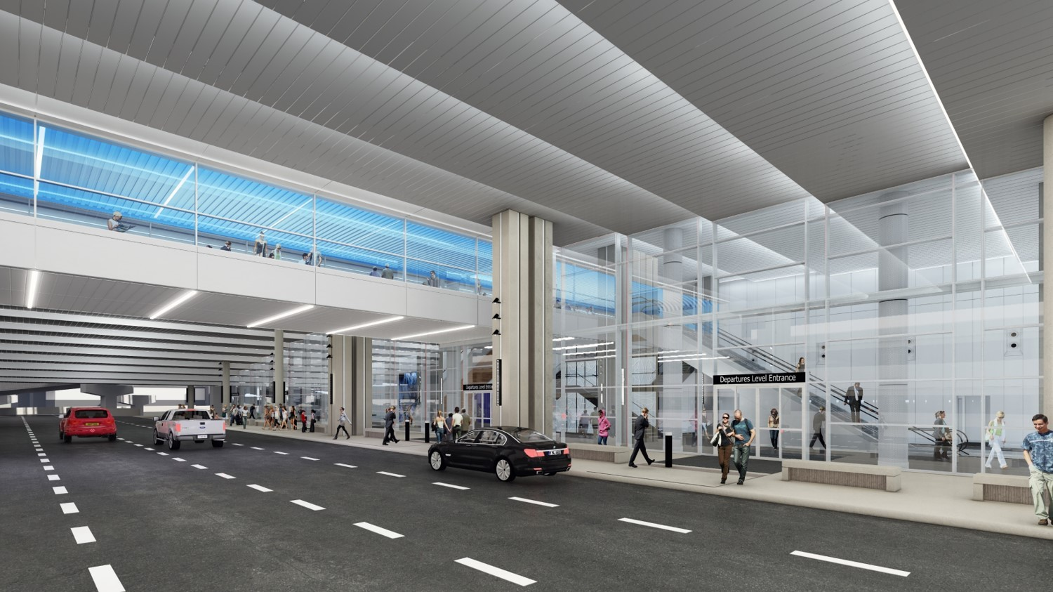 An exterior view of the departures level with the new curbsides at Tampa International Airport.