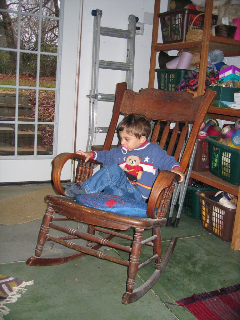 By December 2005 I had begun to move things into the studio. My grandson Ian was exploring the space and making himself comfortable.