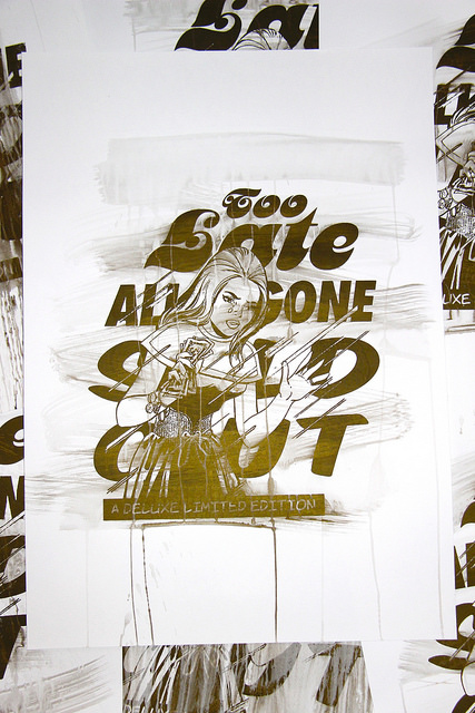 too late screenprint crying girl