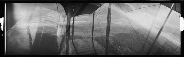 Roy D Chapin, view from Wright brothers plane, 1916