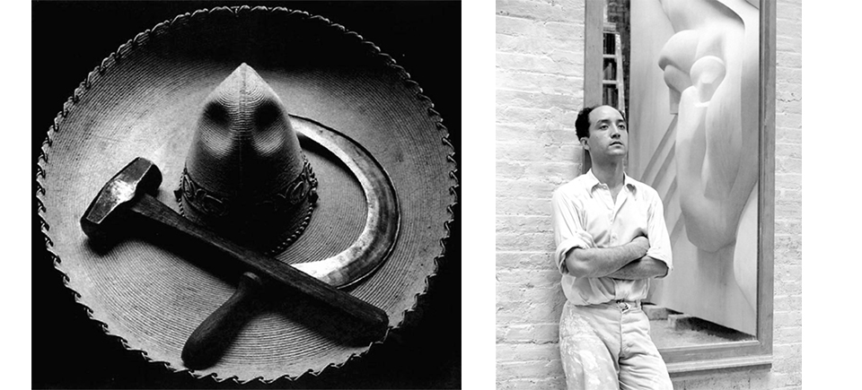Tina Modotti,  Mexican sombrero with hammer and sickle , 1927 | Noguchi with stone sculpture