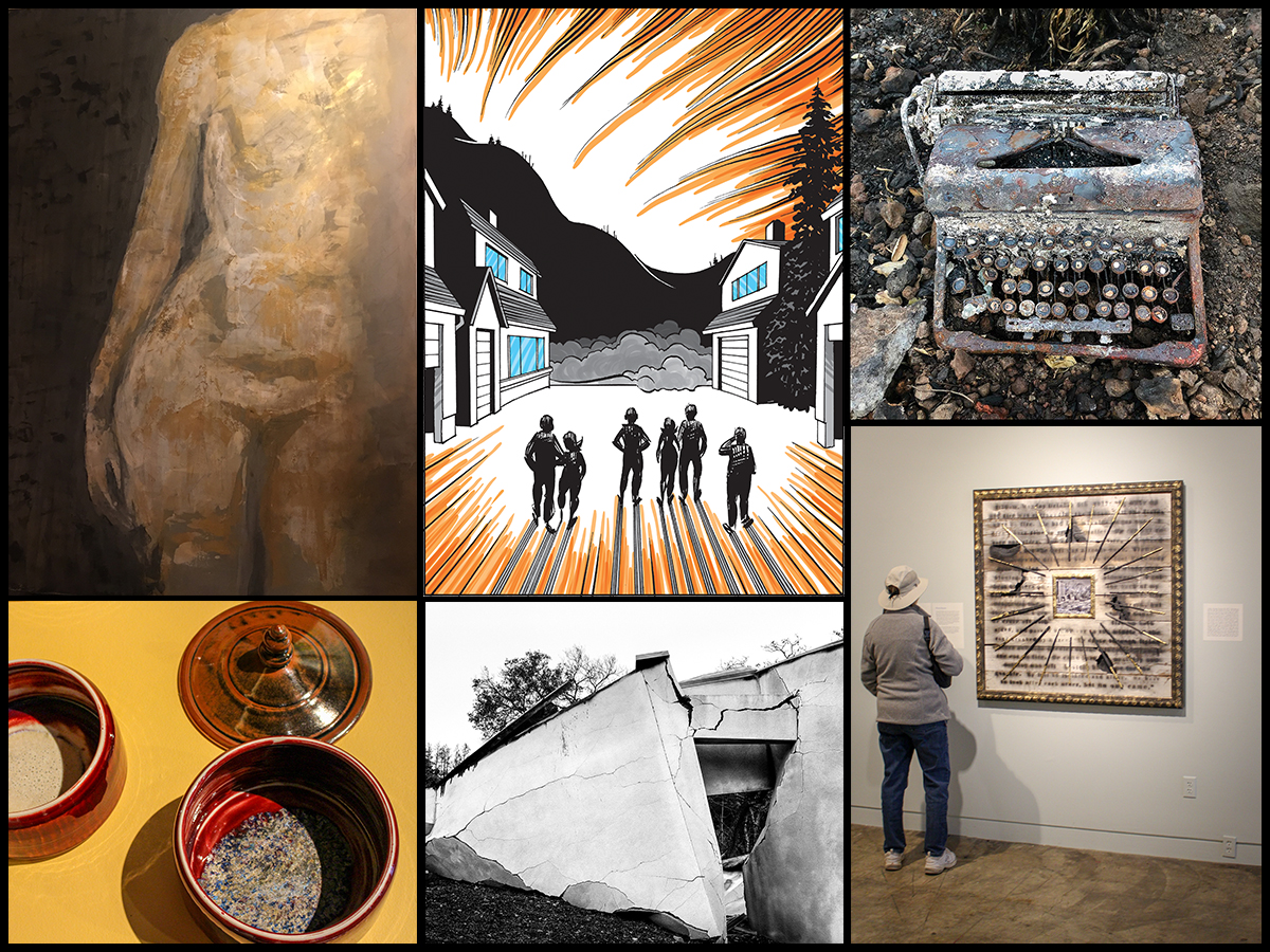 1. Oscar Aguilar Olea, Danae,Egg tempera with acrylics on canvas 2. Brain Fies, A Fire Story, Page 5,Ink on Bristol board 3. Gregory Roberts, Sonoma Ash Project 4. Norma I. Quintana, Typewriter, Archival pigment print 6. Peter Hassen, Love/Loss, mixed media.