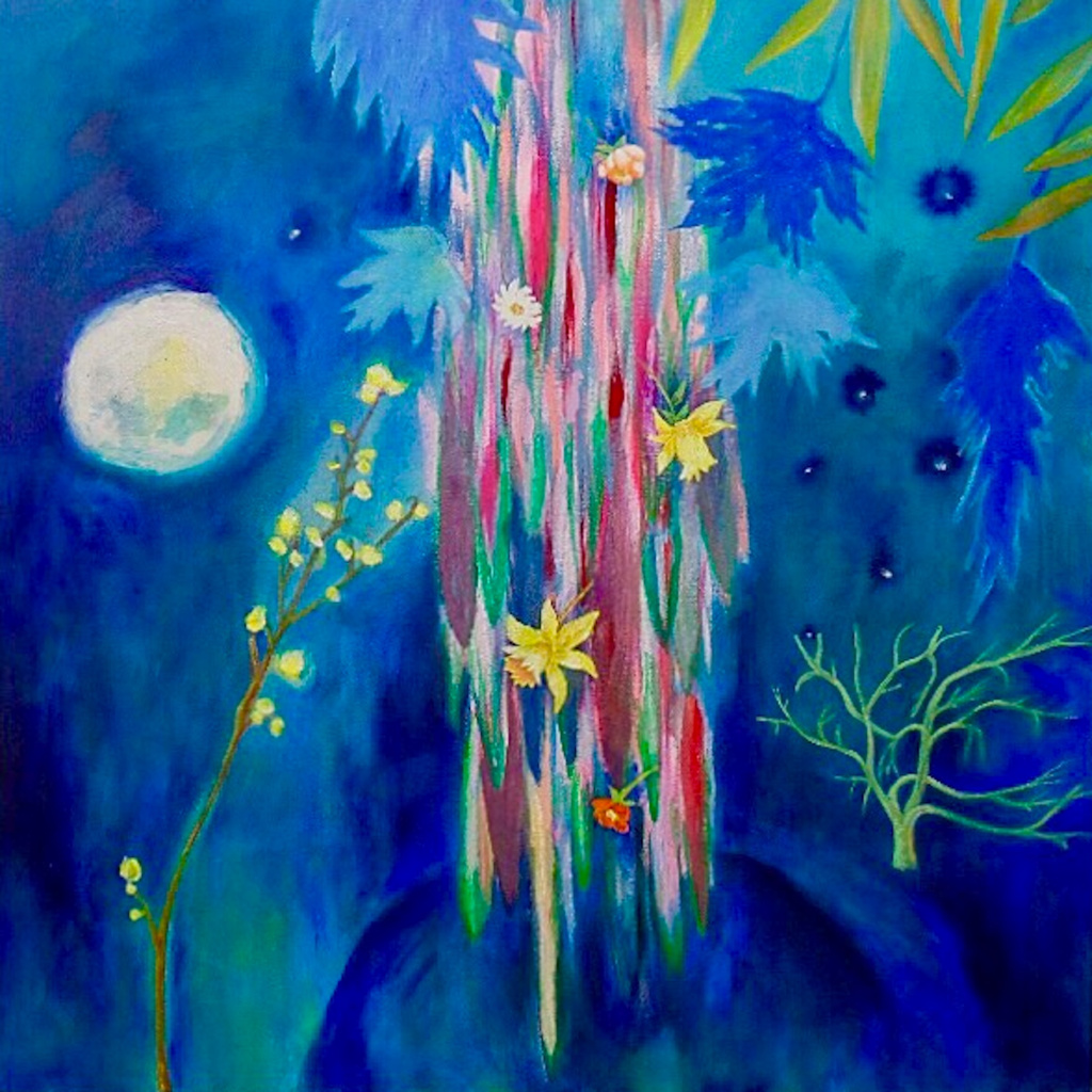 "Clare Oliveras,  Night Garden ,   30"" x 30"", acrylic & oil on canvas"