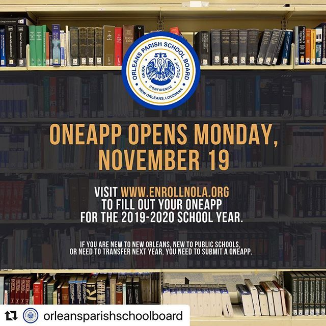 #Repost @orleansparishschoolboard with @make_repost ・・・ We know it's game day but let's not forget OneApp opens TOMORROW! Head to enrollnola.org for more information! #nolaed #unified