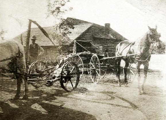 Horses, man & farm equipment