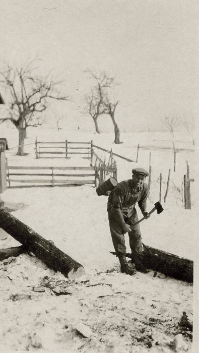 Gordon Hall splitting wood