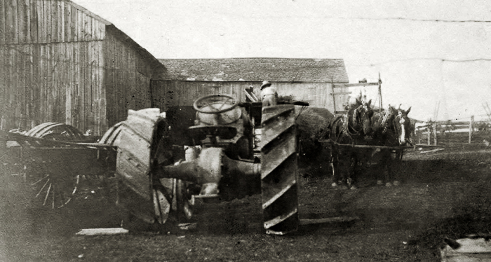 Tractor & horse drawn wagon