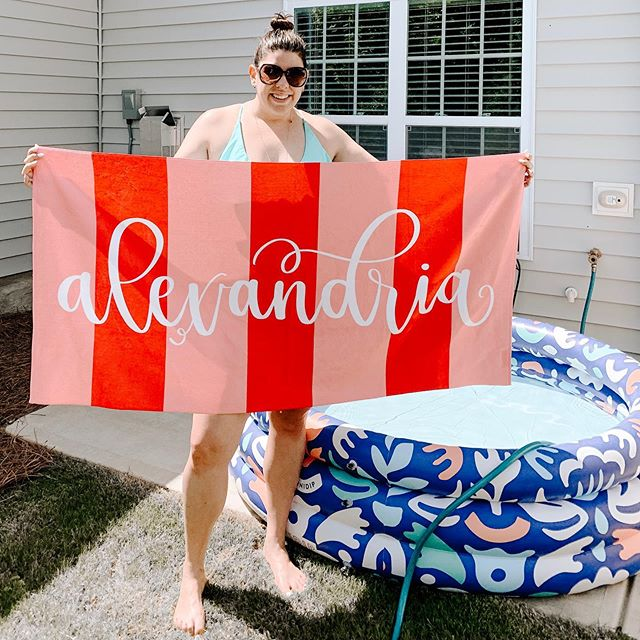 Personalized towels are here for the summer!! The days are heating up and perfect for some beach or pool time. Head to the link in profile to snag your personalized, hand lettered towel today. (Available in 14 colors!!)