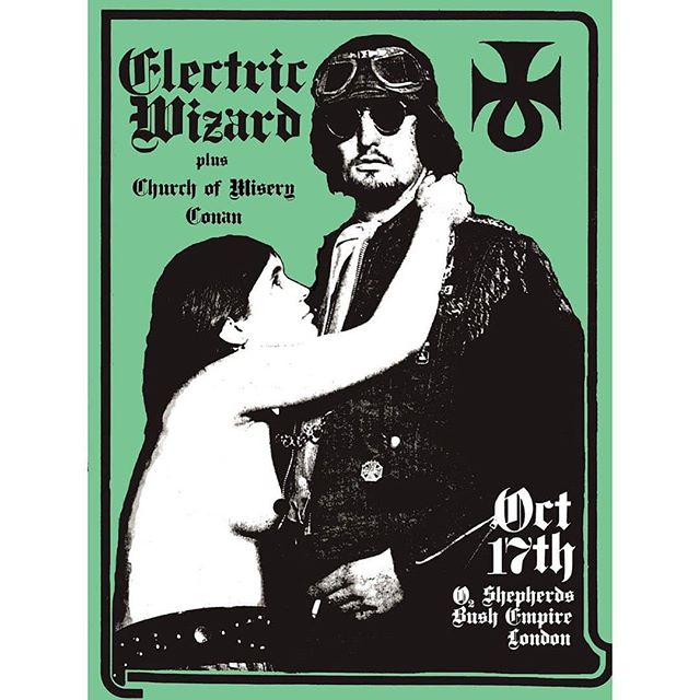 Tonight @hailconan joins @churchofmisery and @electricwizarddoom tonight in London!  #hailconan #cavemanbattledoom #conanslaying #churchofmisery #churchofmiseryband #electricwizard #electricwizarddoom #oldempire #shepherdsbush #londontown #blackskullservices #weareblackskull #blackskullband