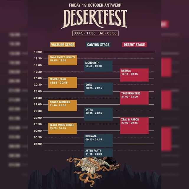 Today @desertfest_belgium kicks off! Five Blackskull bands are playing this weekend! Tonight the Canyon Stage is being headlined by @sunnataofficial with @yatra_doom just before them. On Sunday @sixesdoom are headlining the Vulture Stage with @un.vibes. @thisisungraven is playing a secret show with the venue still TOP SECRET!  #desertfest2019 #desertfestbelgium #sunnata #sunnataofficial #yatra #yatradoom #sixes #sixeskvlt #ungraven #unvibes #blackskullservices #weareblackskull #blackskullband #blackskull